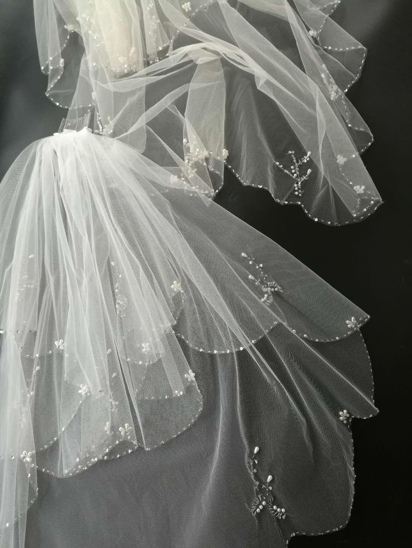 Passat Pale Ivory 1 Tier 3M Cathedral Wedding Veil Sequin