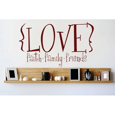 "Design With Vinyl Love Faith Family Friends Wall Decal Size: 14"" H x 30"" W x 0.16"" D, Color: Brown"
