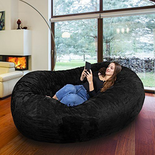 Gigantic Bean Bag Chair In Limo Black With Memory Foam Filling Machine Washable Velour Cover Comfortable Cozy Lounge Sack To Chill