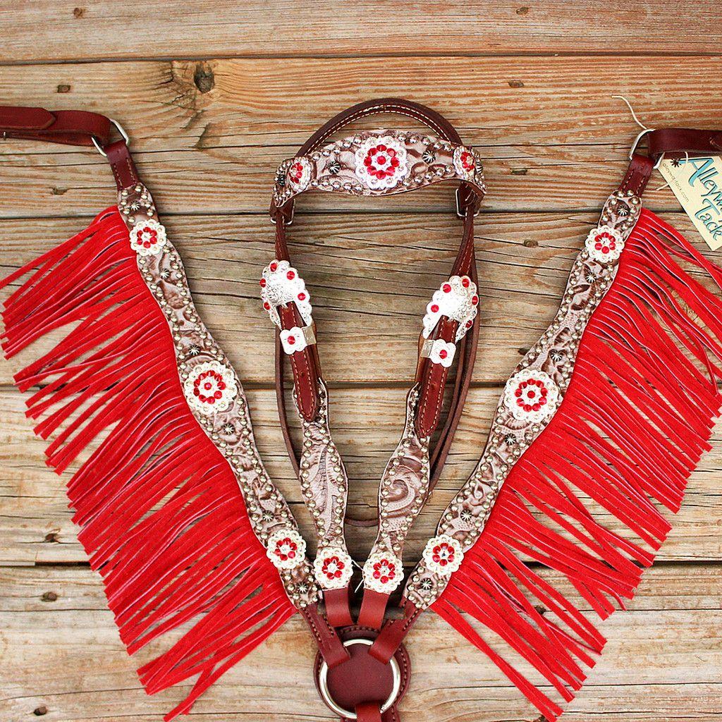 Floral Bone/Chestnut Leather Fringe Browband Tack Set w ...