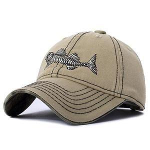 Embroidery Fish Bone Baseball Cap Breathable Outdoor Sunshade Hat Embroidery Fish Bone Baseball Cap Breathable Outdoor Sunshade Hat