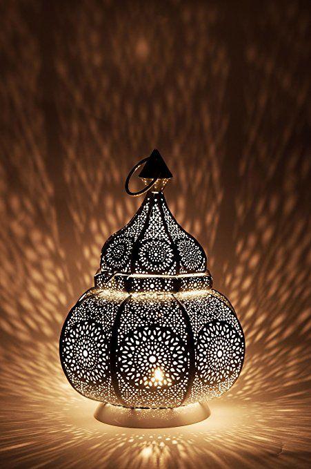 Orientalische laterne aus metall ziva wei 30cm for Orientalische laterne silber
