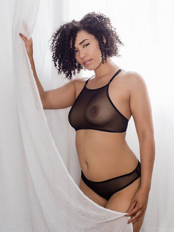 1f69eed5db546 Sheer Lingerie - Black Mesh High-rise  Lupine  Bikini - See Through Panties  - Made To Order Womens L