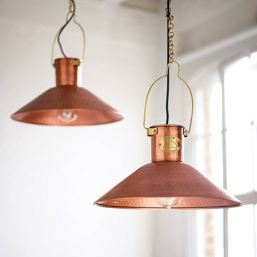 Marvelous Hammered Copper Kitchen Lighting
