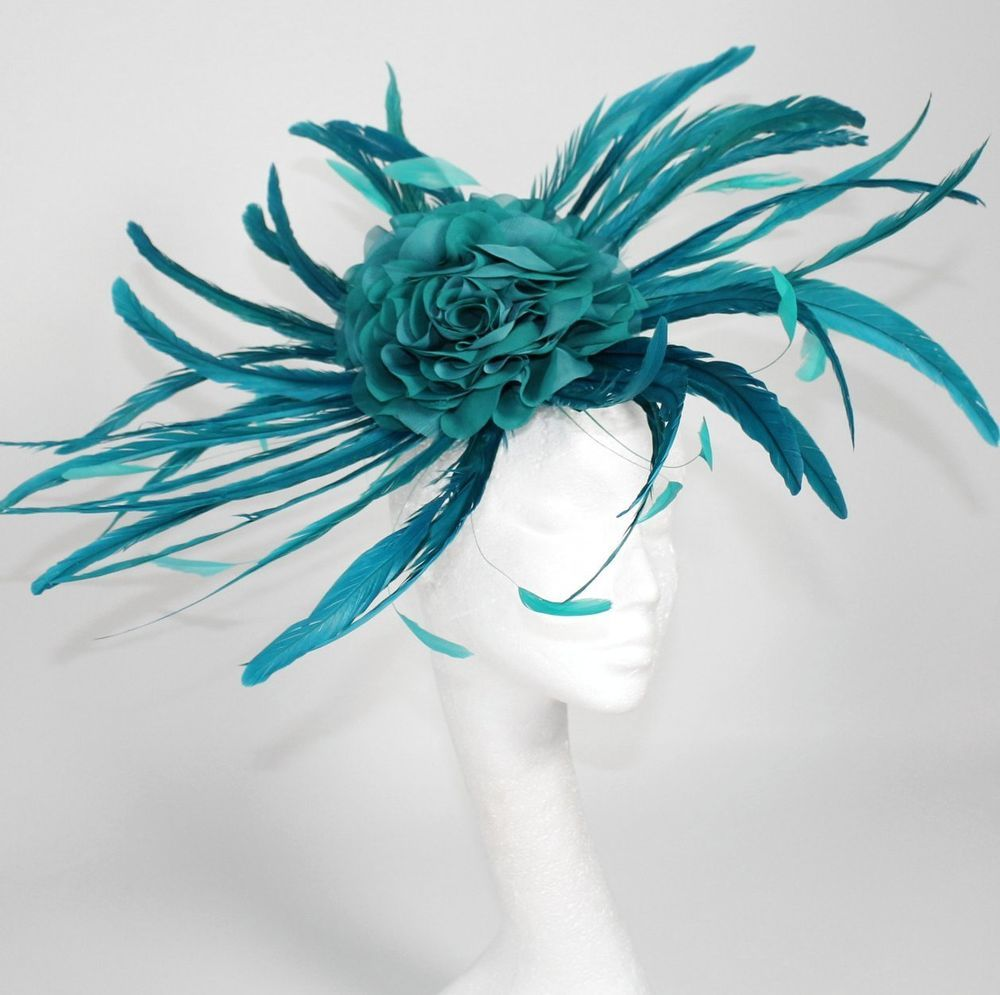 Jade/Dark Turquoise Fascinator Hat for Weddings/Ascot/Proms With Headband