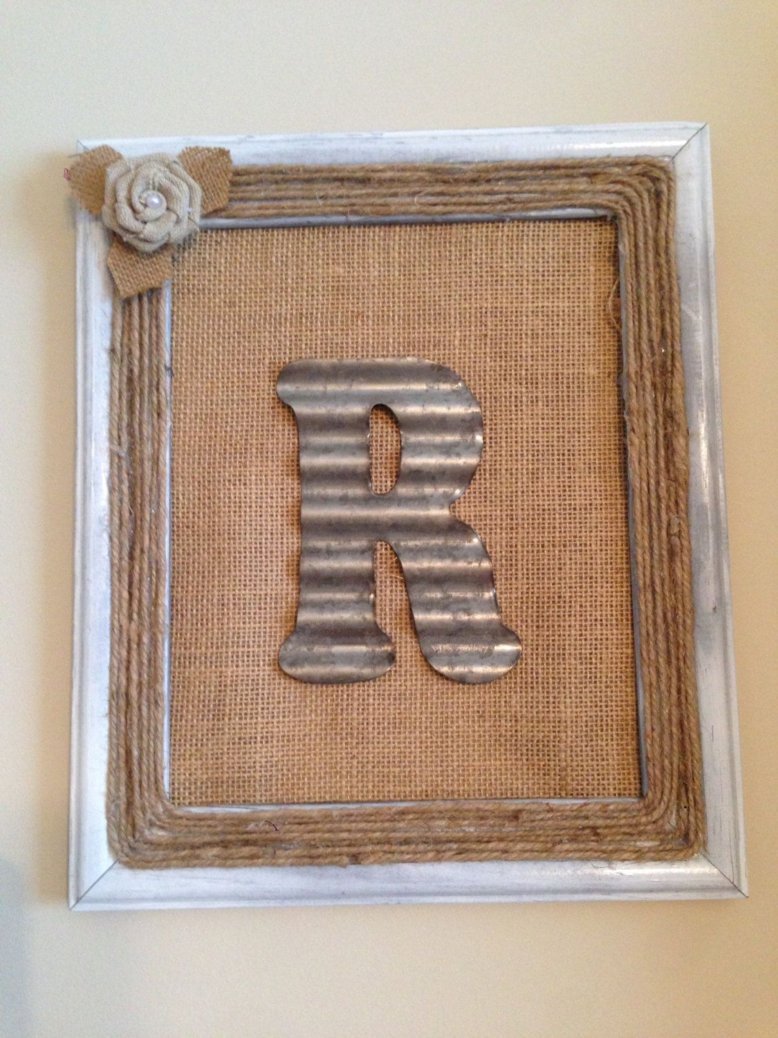 Galvanized Monogram Letters Personalized Rustic Monogram Wall Hanging With Burlap And