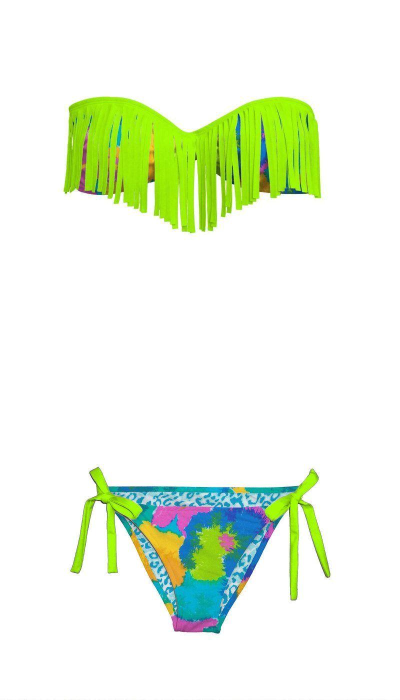 Neon Green + Watercolor Mikini Bikini