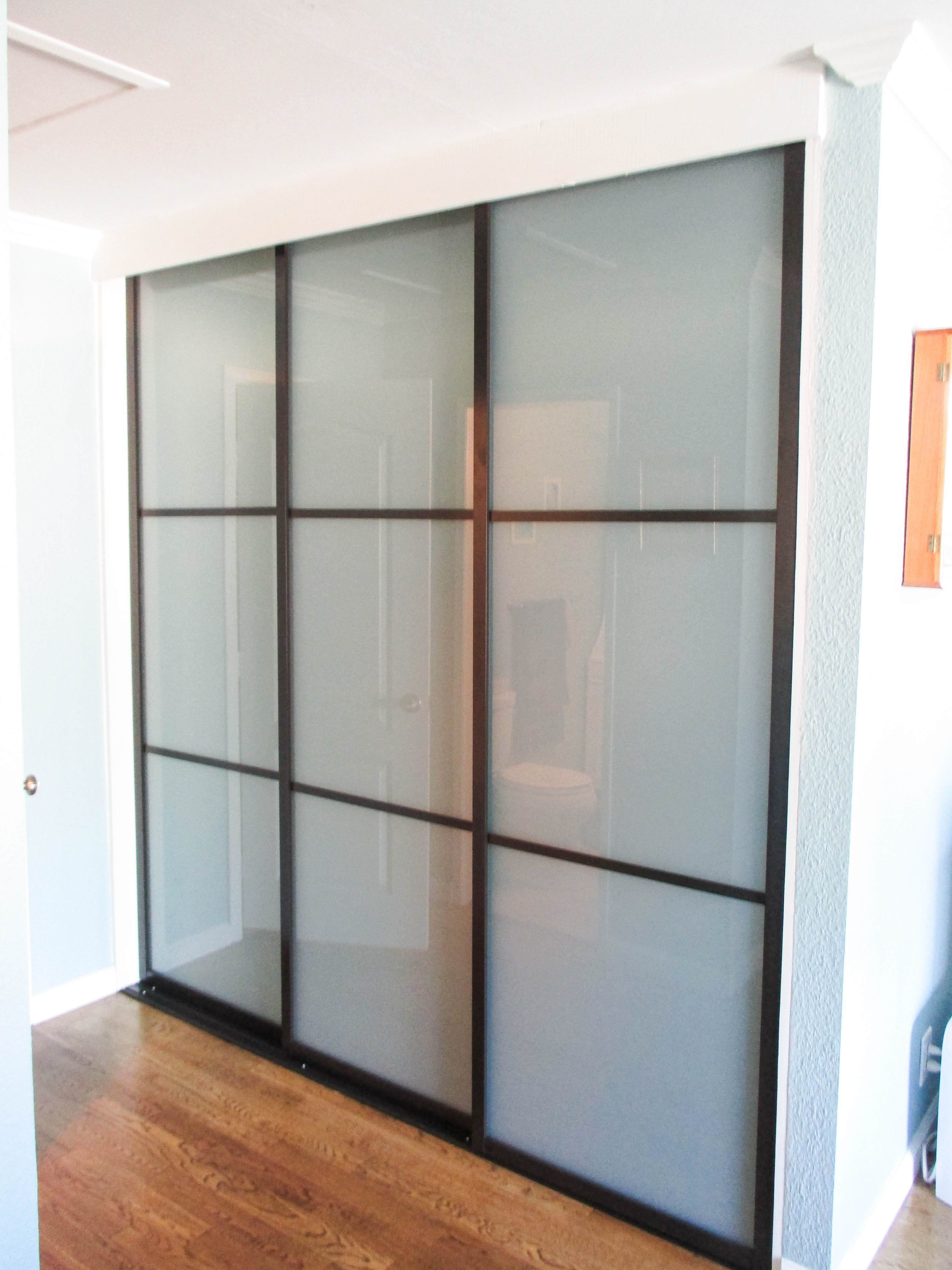 Our Team Installed This 3 Panel 3 Track Java Framed Closet Door