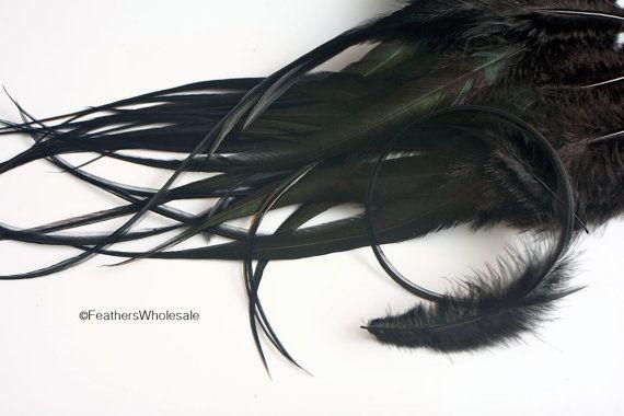 XL Long Black Feathers Fuzzy Wide Jet Black by uniquefeathers