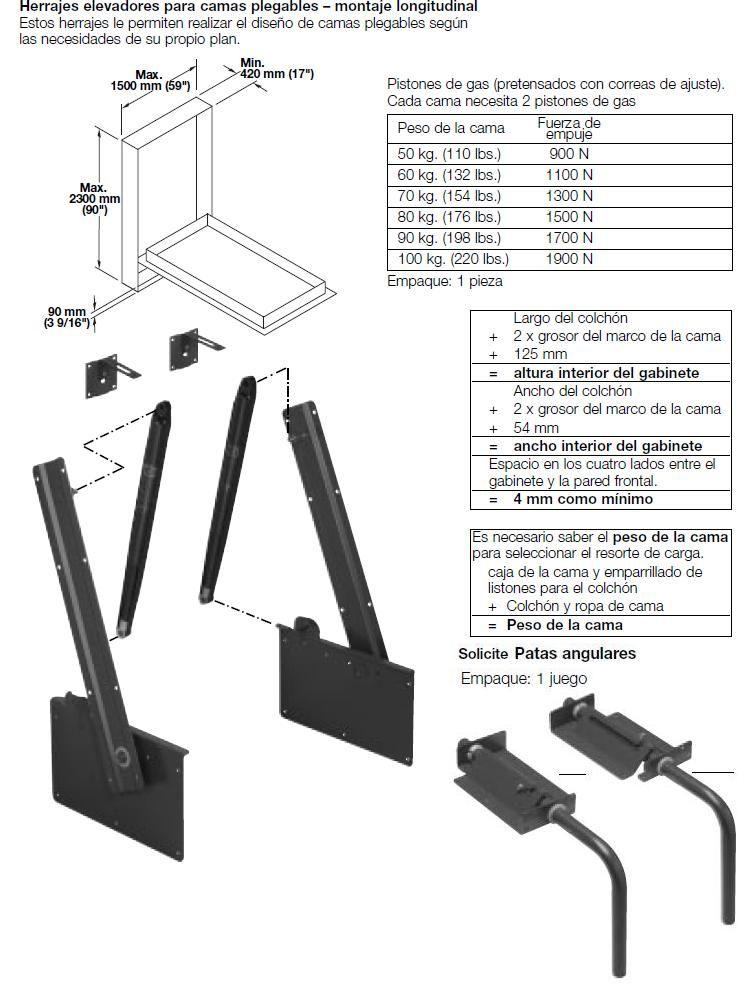Mecanismo cama abatible piston 27195203 80kg gadgets - Sistema cama abatible ...