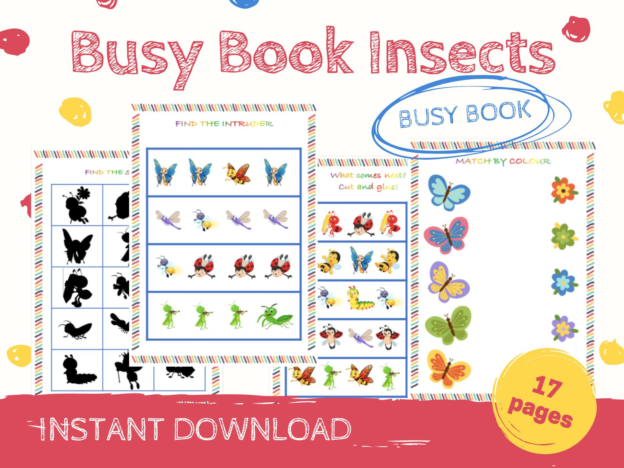 Toddler Busy Book Insects Busy Book Matching Games Toddler