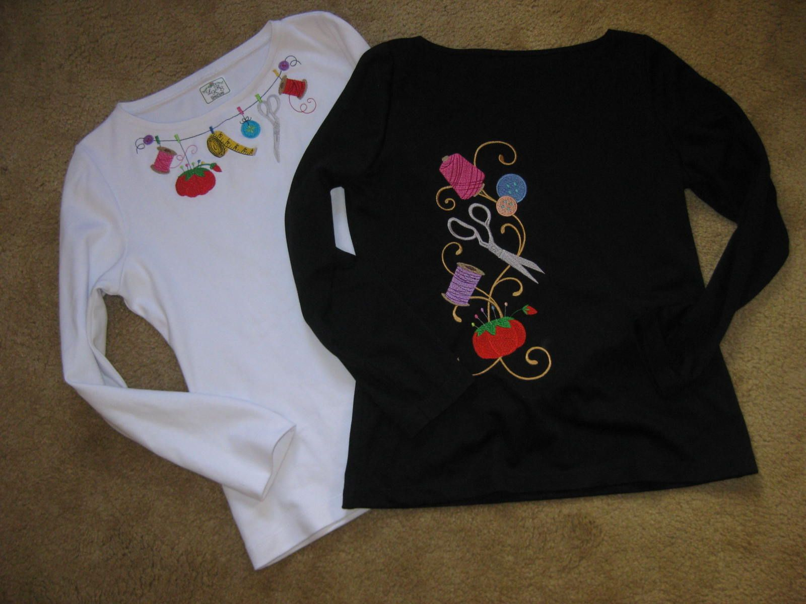 A couple tee shirts I made and embroidered for the Sewing & Stitchery Expo in Puyallup.