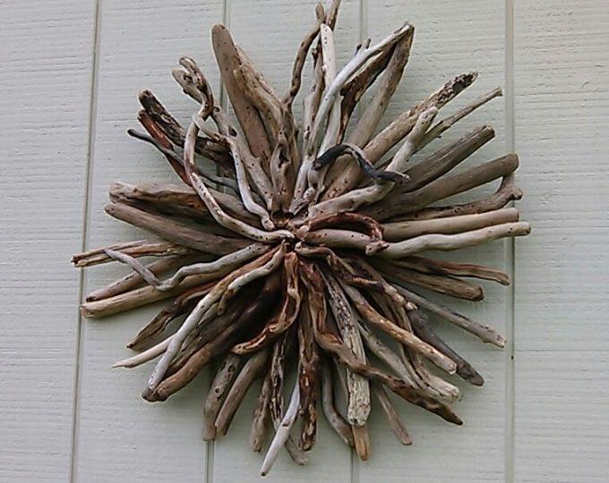 Driftwood Wall Hanging Sunburst Driftwood Art Beach House Decor