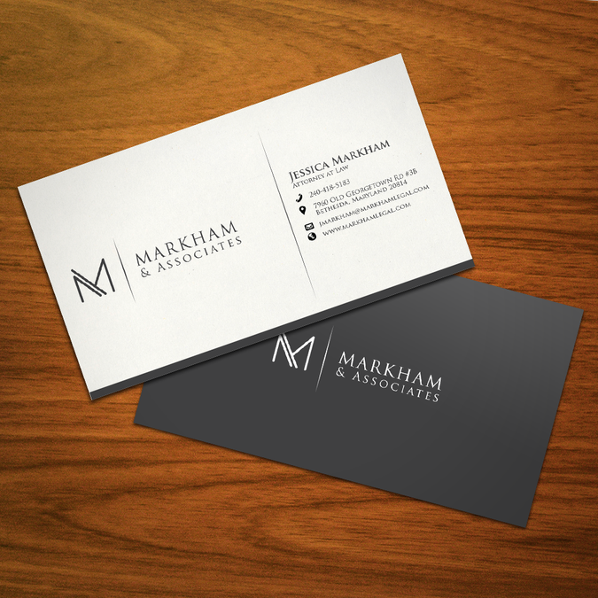 Winning design by desy business card designs pinterest markham associates llc or markham associates create an unfussy and timeless modern law firm logo reheart Image collections