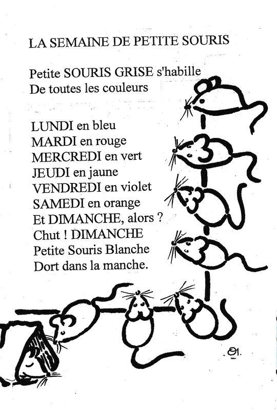Comptine Des Jours De La Semaine En Noir Et Blanc La Semaine De Petite Souris Dis Bonjour Au Soleil Comptines Comptine Illustree Comptine Maternelle