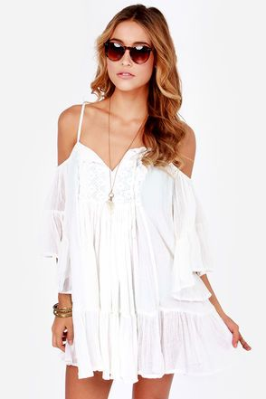 248786d91d50 Roxy Beach Dreamer Off-the-Shoulder Ivory Dress. Boho. Chic. Casual. White.  Dress. Summer. Hippie. Indie