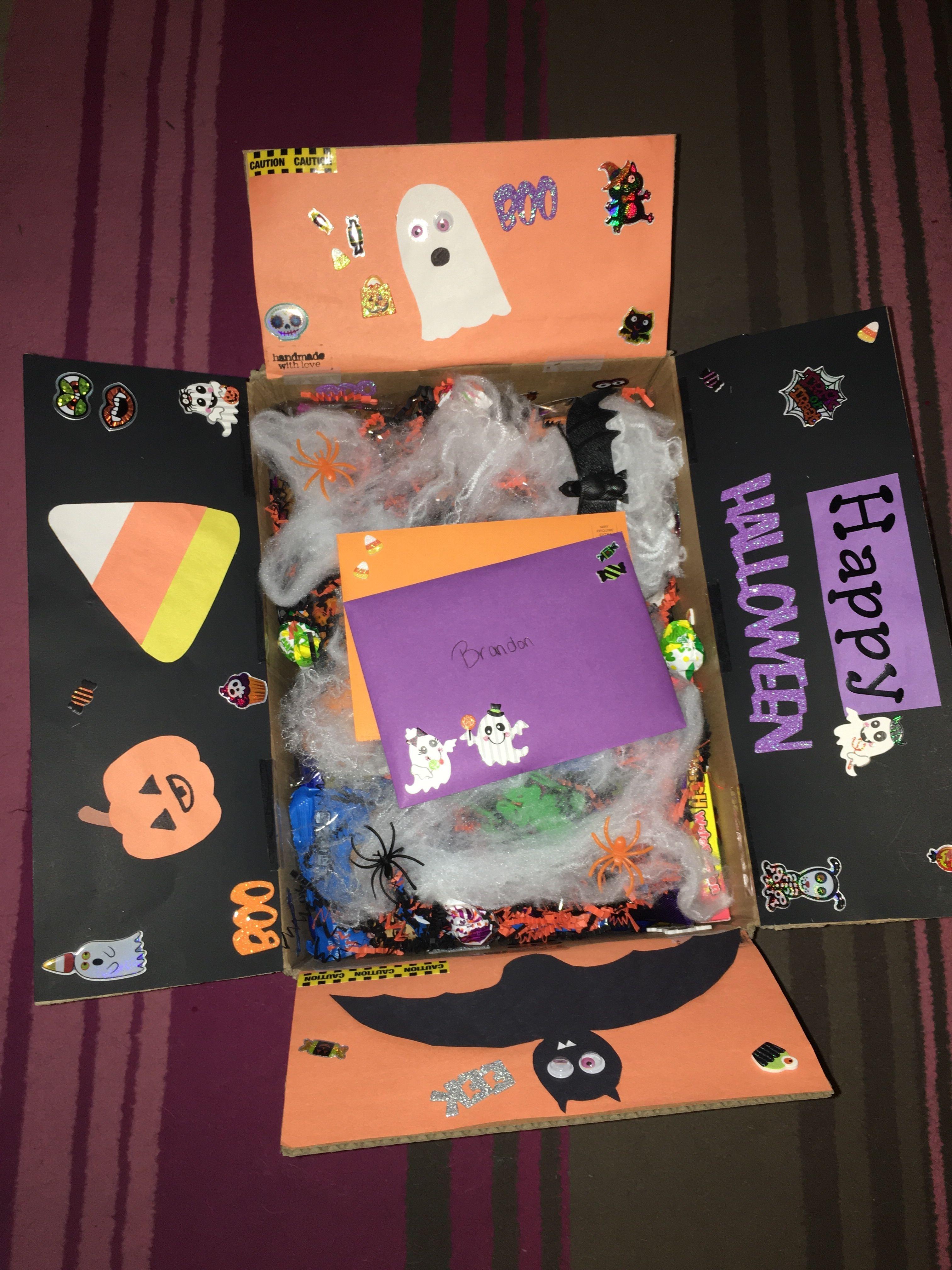 Halloween spooky basket care package for boyfriend