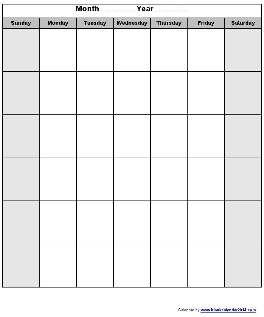 Printable Blank Monthly Calendar Blank Monthly Calendar