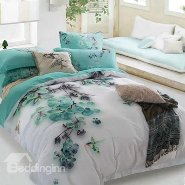 Mysterious Blue Flower And Hummingbird Print 4 Piece Cotton Duvet Cover Sets Turquoise Bedding Sets Bedding Sets Bed Linens Luxury