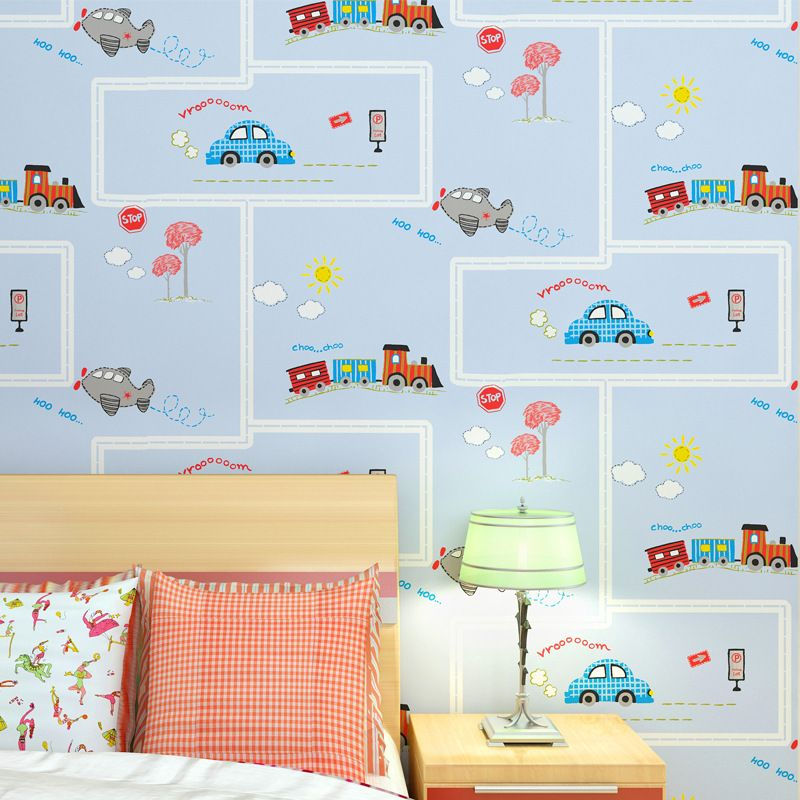 Environmental Protection Non Woven Children S Room Wallpaper Cartoon Car Boy Bedroom Striped Children Boys Room Wallpaper Children Room Boy Kids Room Wallpaper