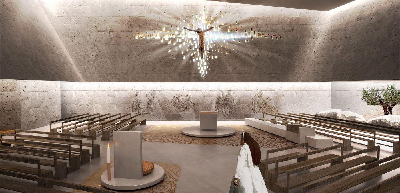 Studio Kuadra gana concurso para complejo religioso en Cinisi,Vista interior. Cortesía de Studio Kuadra