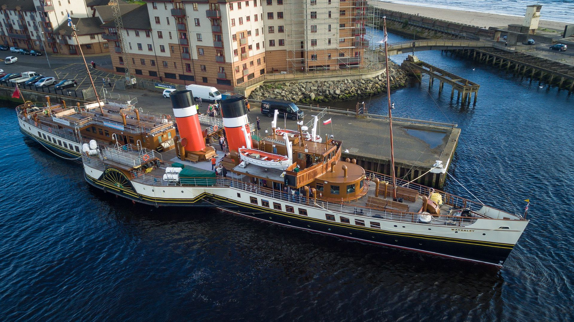 The Waverley Paddle Steamer departing on the West FM cruise evening along the Firth of Clyde. #whywefly #aerialpixls #djiinspire1