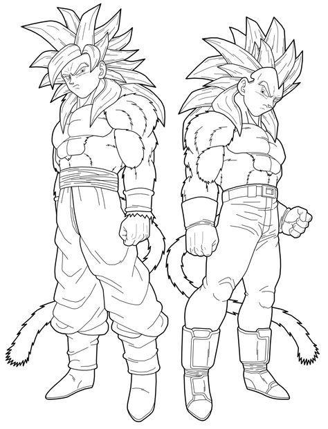 Dragon Ball Z Son Goku And Vegeta Super Saiyan Four Dragon Ball Art Super Coloring Pages Dragon Ball Artwork