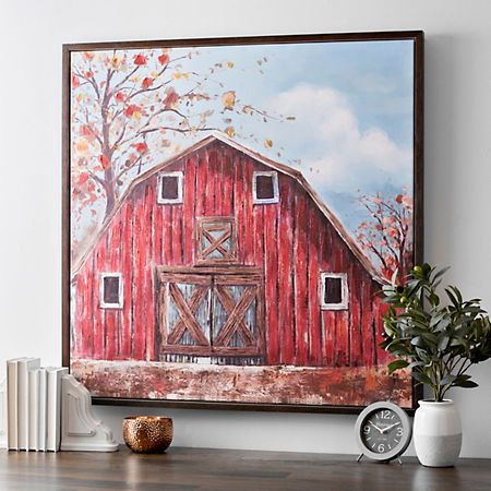 The Red Barn Framed Canvas Art Print Kirklands Barn Painting Canvas Art Wall Decor Red Barn Painting