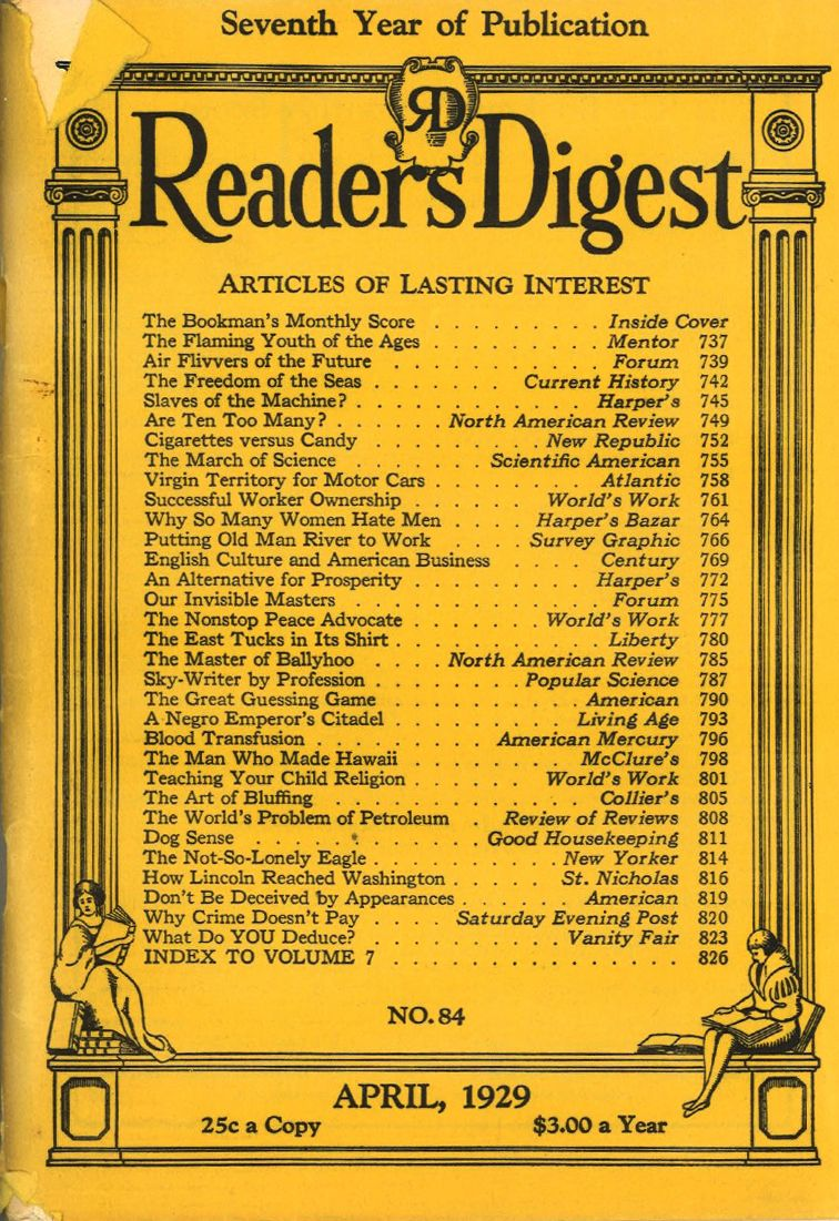 Reader's Digest, April 1929    WOW!!  For a lot of things here!