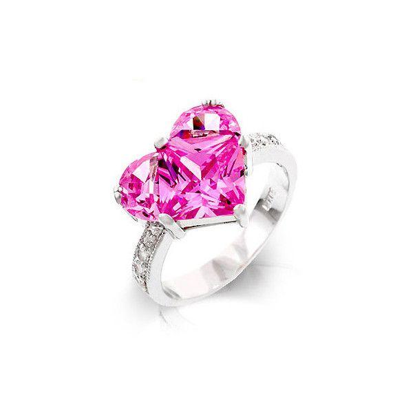 570745eea Saitas Large Pink Cubic Zirconia Heart Ring ($37) found on Polyvore ...