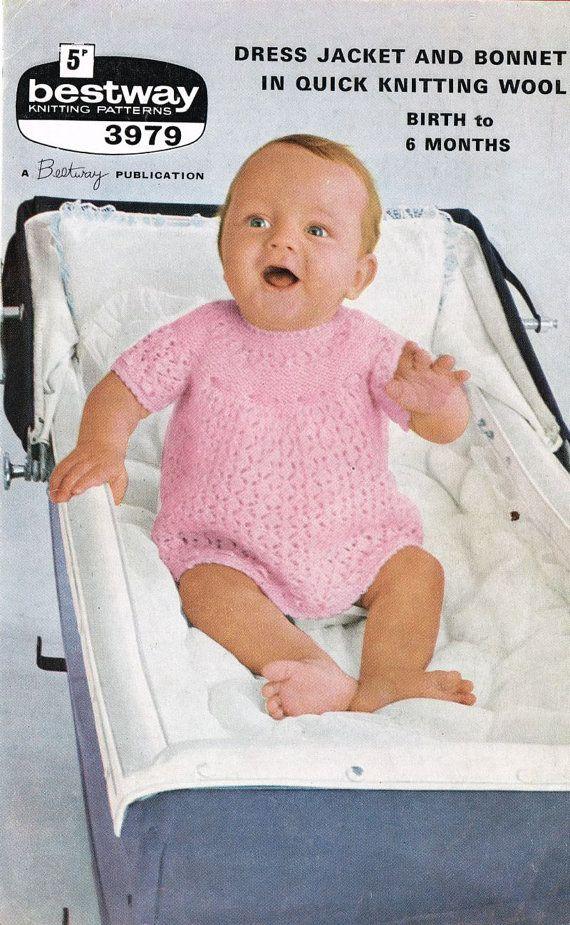 6d09800f4d96 Bestway 3979 vintage baby knitting pattern dress vintage baby ...