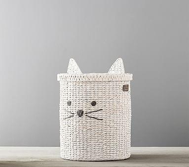 Kitty Shaped Storage Hamper Wicker Hamper Pottery Barn