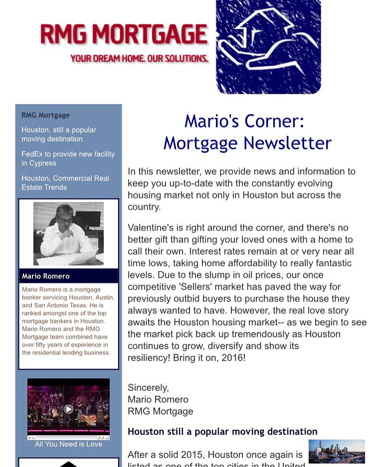 Newsletter From Rmg Mortgage Cypress Mortgage Dreaming Of You