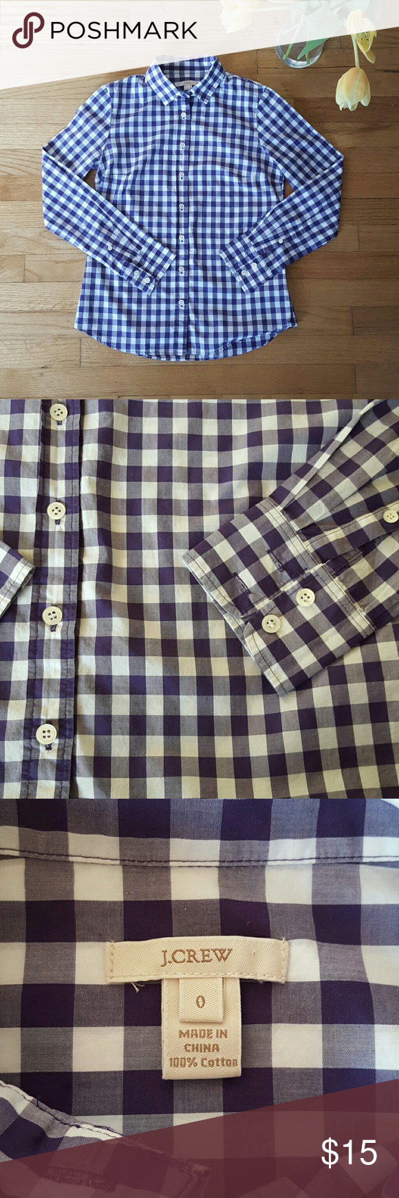 J. Crew Button Down Cute purple J. Crew Button Down. Never worn, in perfect condition. 100% cotton. J. Crew Tops Button Down Shirts