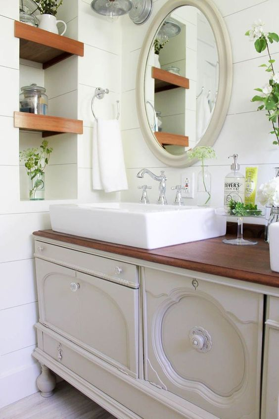 a vintage buffet transformed into a bathroom vanity Painted - lavabo retro salle de bain