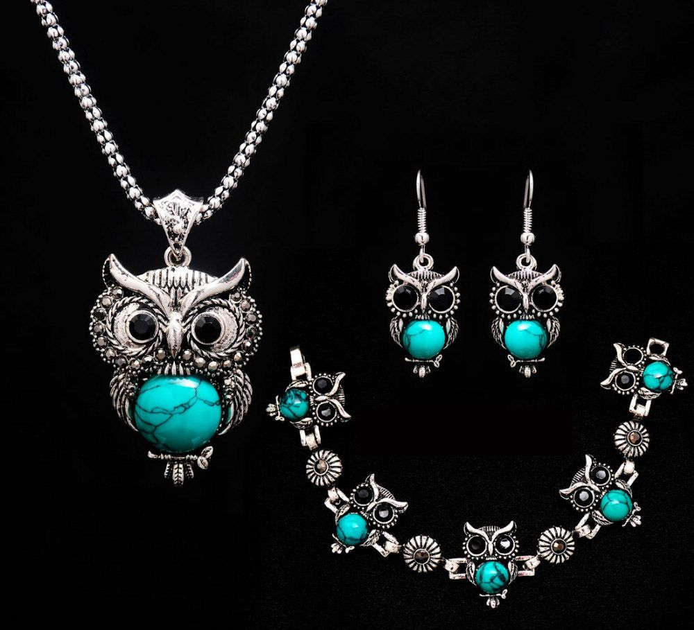 Retro Perak Disepuh Simulasi Turquoise Liontin Owl Bentuk Kalung 1 Set Perhiasan Rhodium Anting Gelang Aksesoris Pernikahan