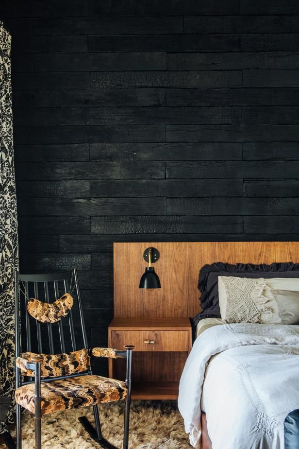 Low Profile Midcentury Bed Against Charred Wood Wall Black Accent Walls Wood Walls Bedroom Charred Wood Wall