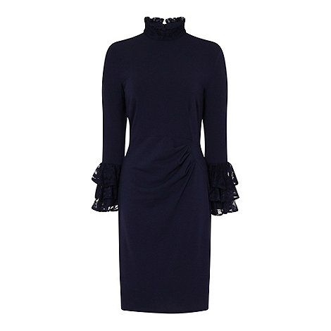 HotSquash Navy High Neck Lace Detail Dress in Clever Fabric | Debenhams