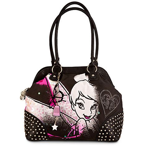 Disney Fairies Tinker Bell and Friends Floral Black//Pink Messenger Bag