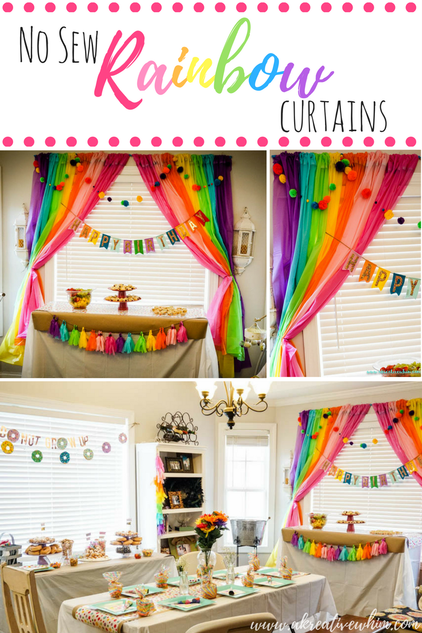 No Sew Rainbow Curtains Party Backdrop Budget Friendly DIY Decor
