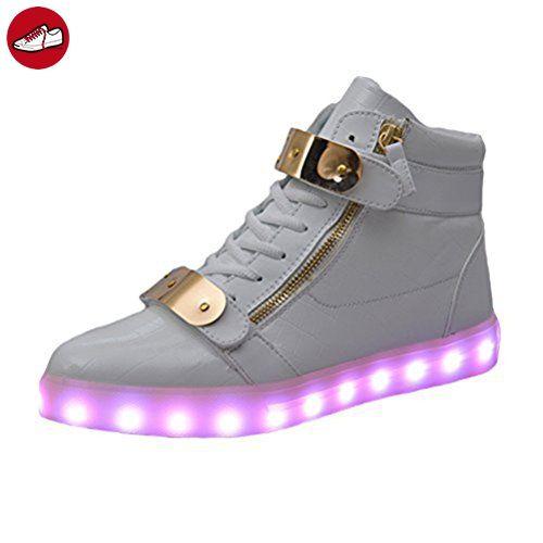 [Present:kleines Handtuch]Schwarz EU 42, USB High weise Blink Schuh Männer Top Turnschuh LED athletische leuc
