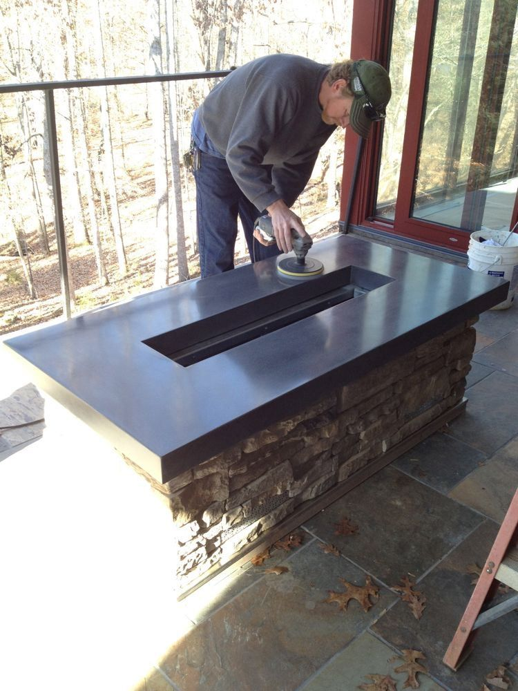 Building a concrete countertop for a fire pit with step