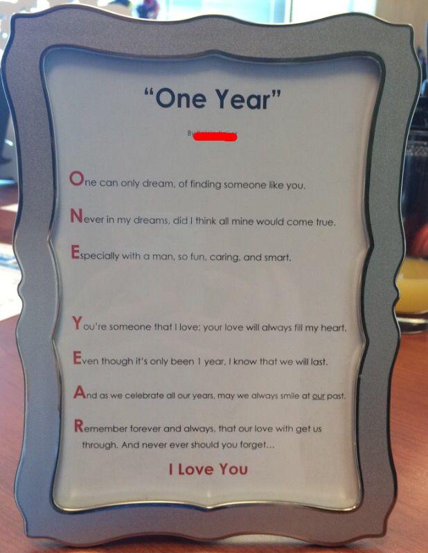 One Year Anniversary Gift Poem Year Anniversary Gifts One Year Anniversary Gifts Anniversary Poems