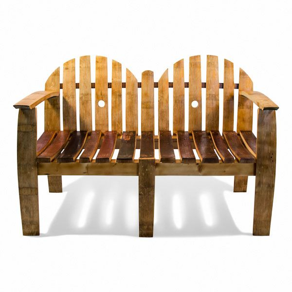 Made from oak wine barrel staves, this original two-person seat is a perfect decorative piece for indoors or outdoors.