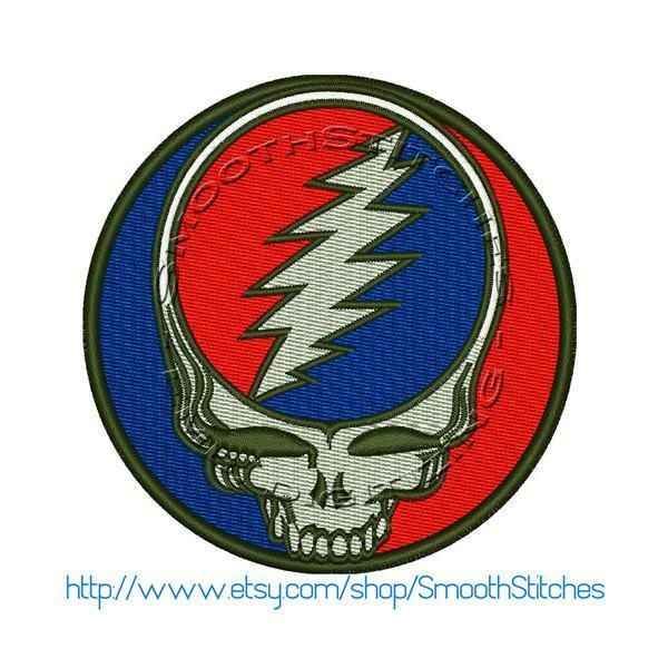 Grateful Dead Skull and Bolt Design for Embroidery Machines ...