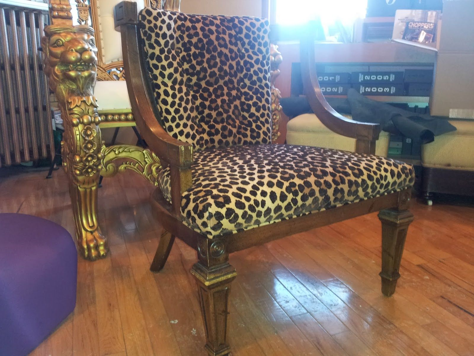 Chair Recovered With Cheetah Print Velvet