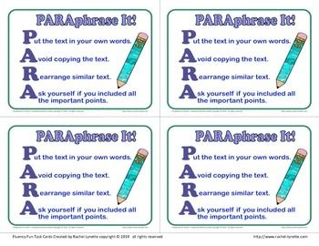 Summarizing And Paraphrasing Paraphrase Skill To Learn Reading Writing What Doe A Mean In English Poetry Quizlet