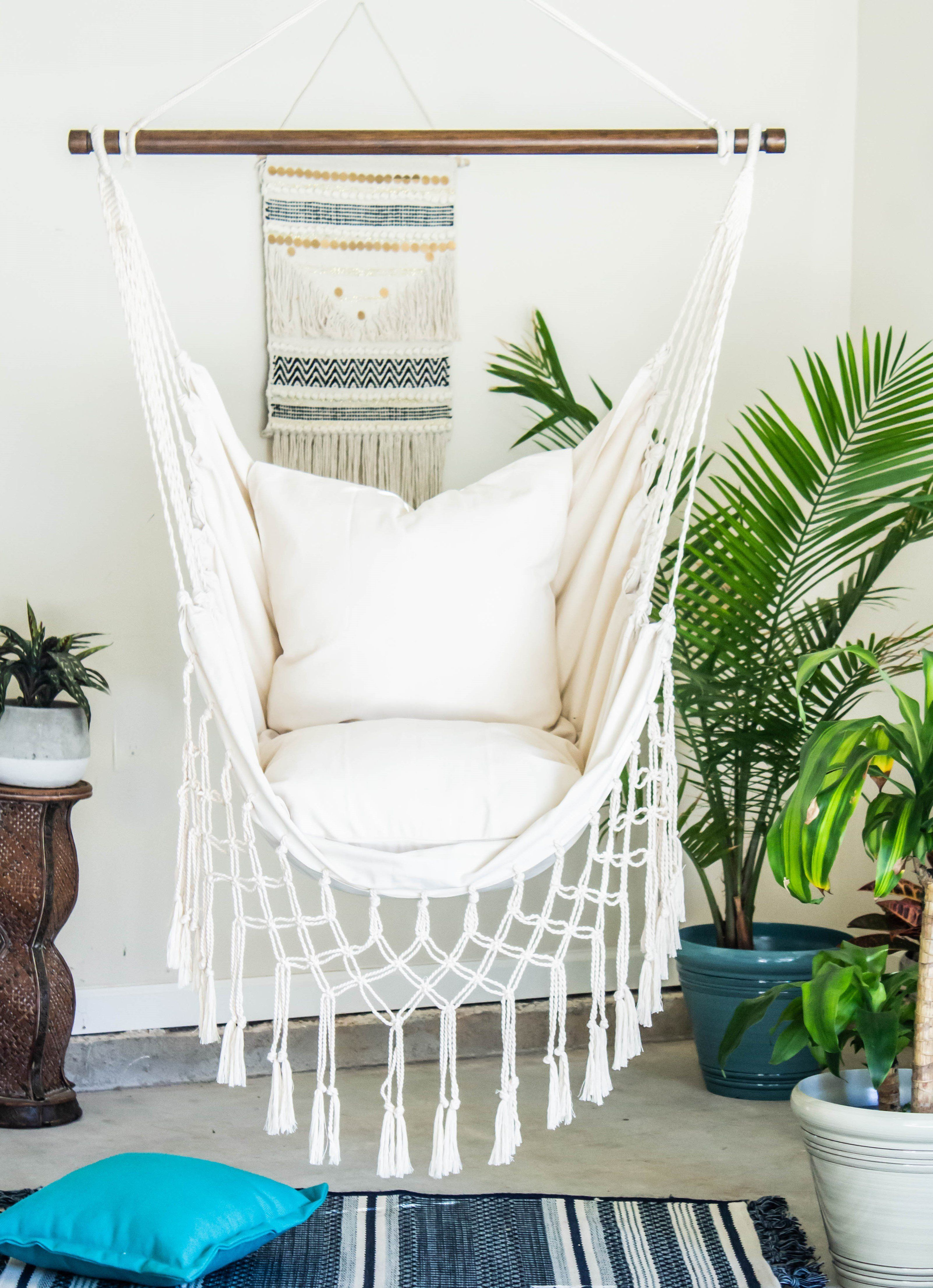 Natural Off White Macrame Hammock Chair + 2 Pillows Set in