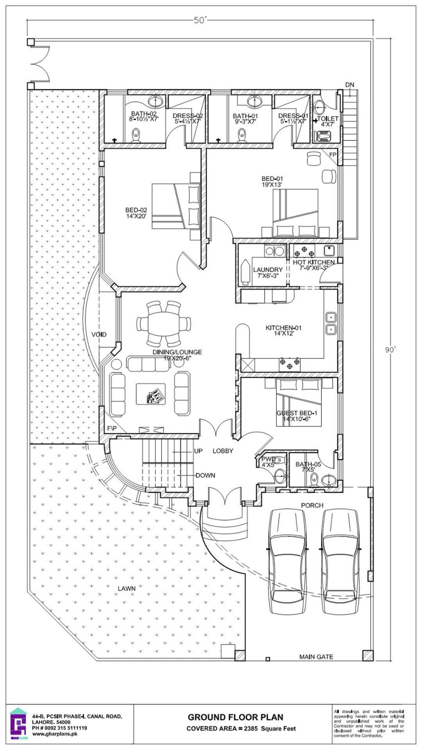 50 X 90 House Plan 500 Sq Yard In 2020