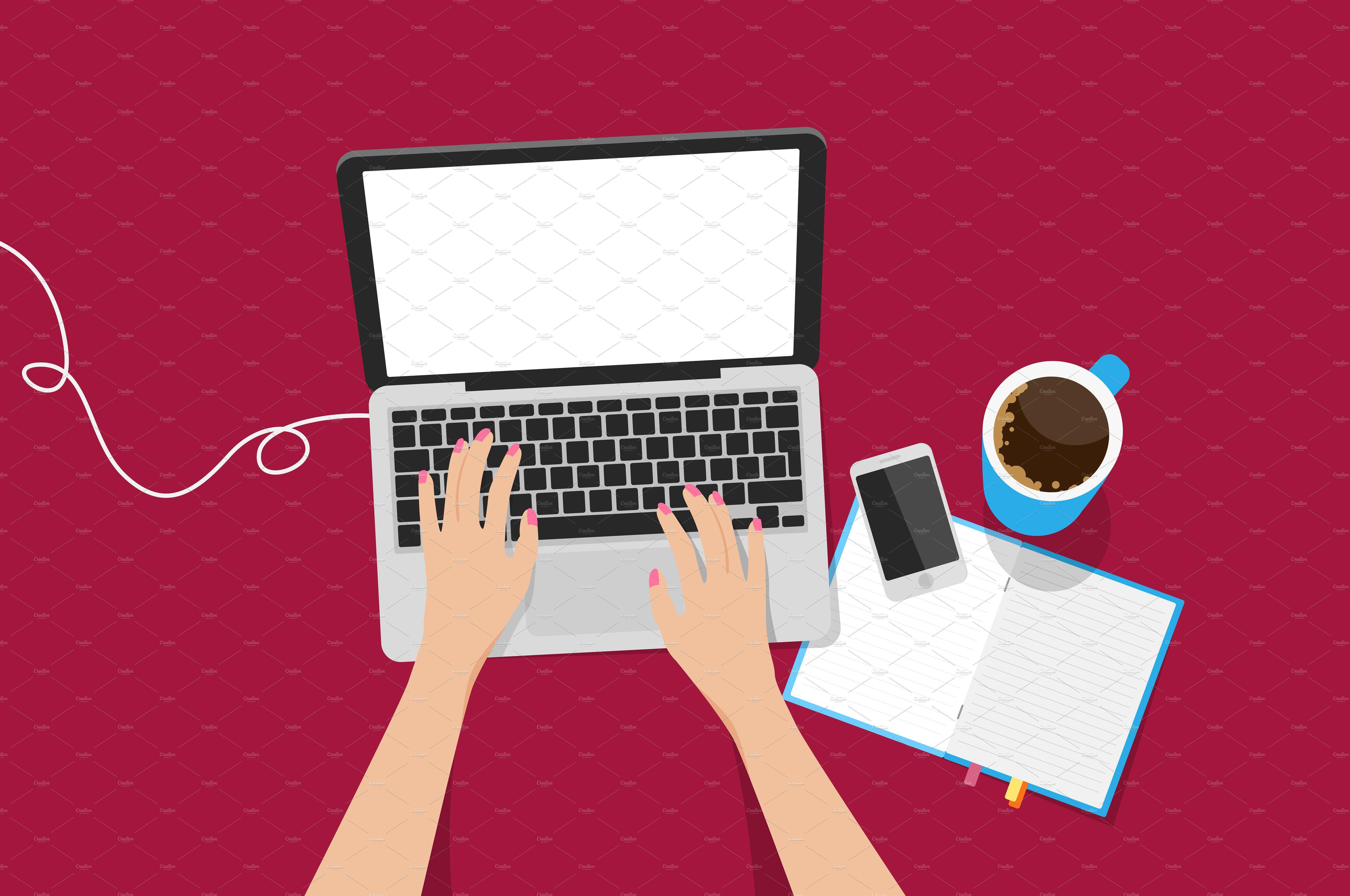 Top view laptop vector illustration Ideias instagram